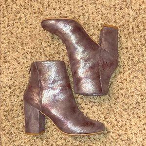 Light grey/purple heeled booties